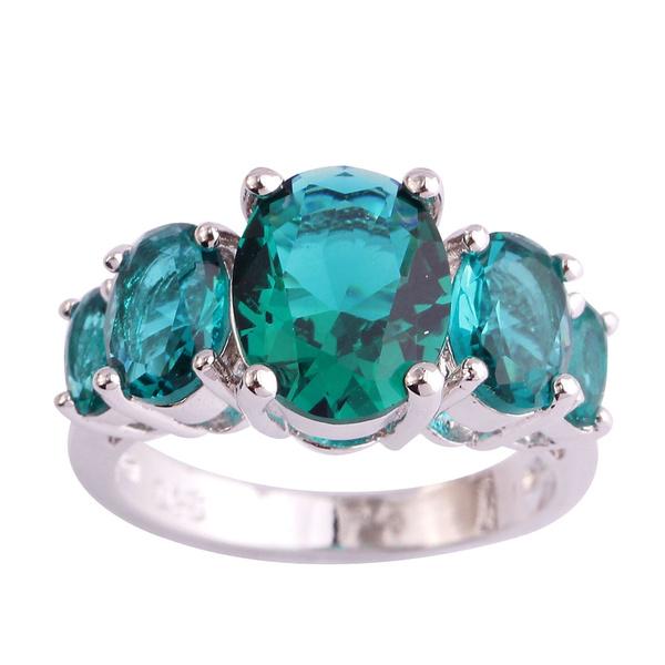 Emerald Cut Green Amethyst Gemstones Silver Ring Size 7 8 9 10 11 12 Xmas Gifts
