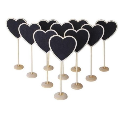 Picture of 5 Pcs Mini Wooden Heart Blackboard Chalkboard Stands Wedding Table Number Decor Heart