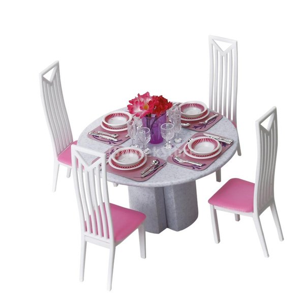 Barbie Size 4 Chairs Dining Room Table Play Set