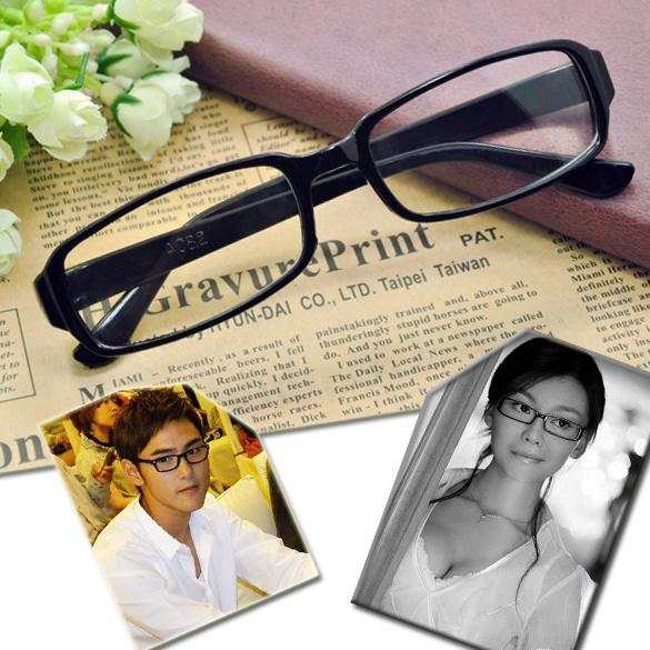Picture of Hot Fashion Unisex Black Frame Dj Clear Lens Nerd Polite Glasses Good Eyeglass Color Black