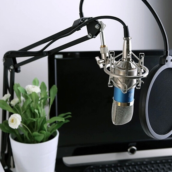 Picture of Professional Condenser Sound Recording Wired Microphone With Metal Adjustable Suspension Scissor Arm Stand For Singing Karaoke Pc Laptop Skype Radio Broadcasting Facebook Live Color Blue