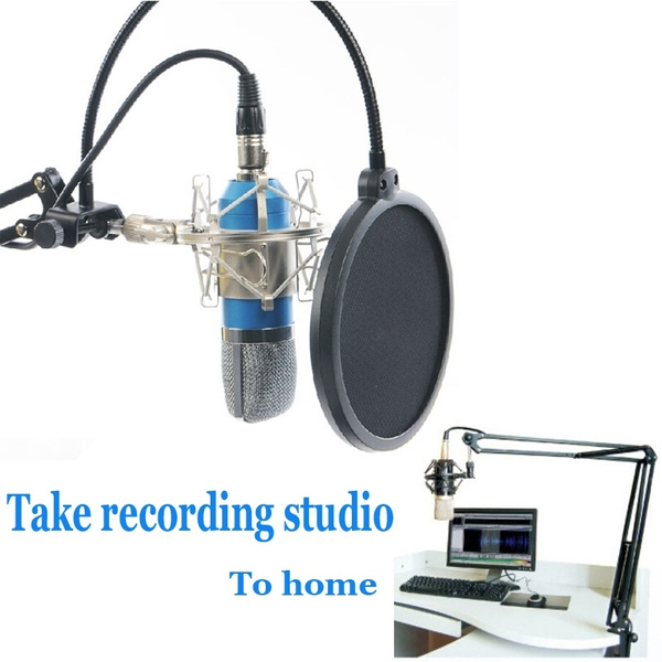 Picture of Professional Studio Microphone Sound Recording Condenser Microphone Ktv Karaoke Wired Mic Dynamic+stand Holder Size M Color Blue