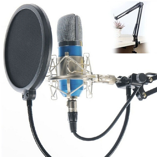 Picture of Professional Studio Condenser Microphone Sound Recording Audio Processing Wired Dynamic Vocal Mic With Adjustable Arm Stand For Facebook Live Radio Braodcasting Ktv Karaoke Color Blue