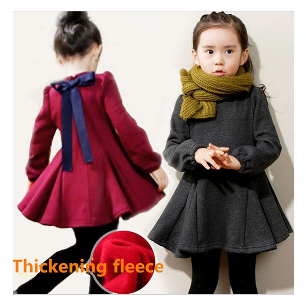 6dd41382e Children's Fashion Clothes Baby Girl Winter Dress Girls Fleece Thick ...