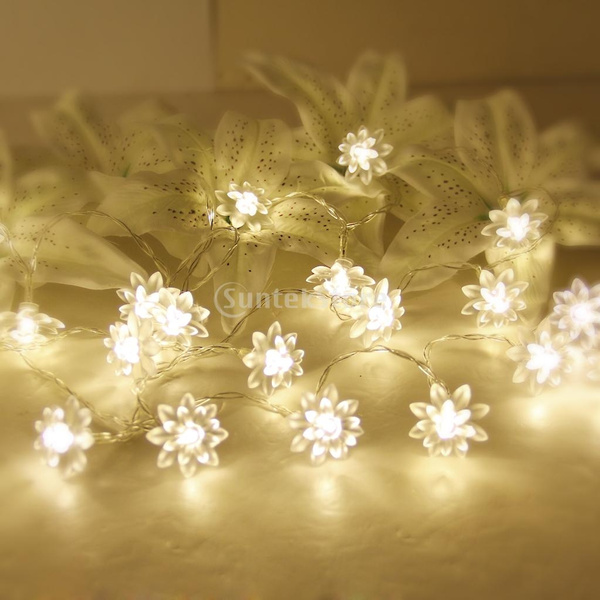 Picture of 20-led 86.6inch Battery Operated Christmas Wedding Flower Shape String Lamp Fairy Lights