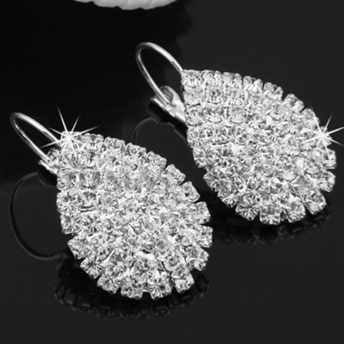 Picture of 1 Pair Rhinestone Teardrop Silver Plated Hoop Dangle Earrings Fashion Jewelry