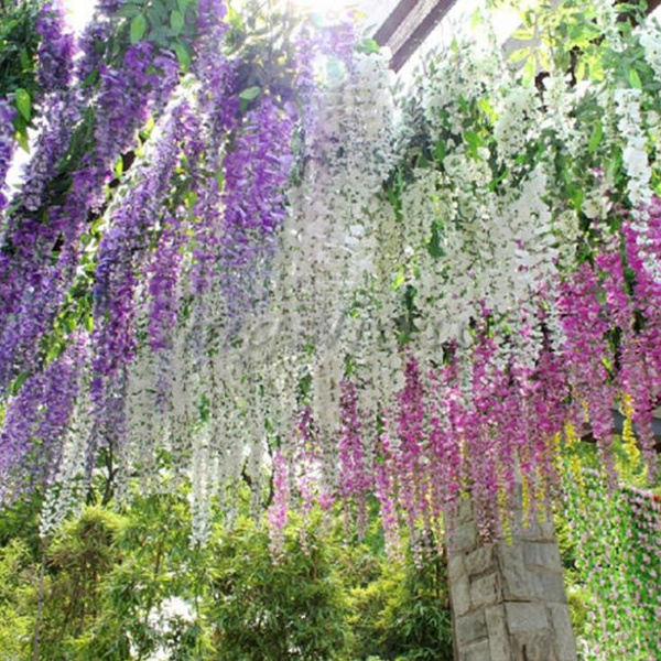 Picture of New Artificial Flower Wisteria Home Garden Hanging Flowers Vine Wedding Plant Decor
