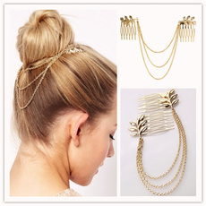 Women Fashion Gold Alloy Tassel Leaf Comb Cuff Chain Jewelry Headband Girl Hair Band HOT