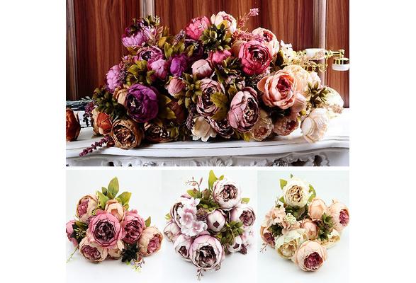 1 Bouquet 8 Heads Vintage Artificial Peony Silk Flower Wedding Home Decor