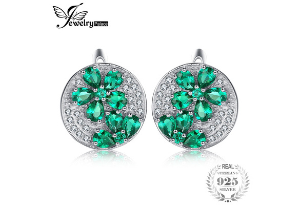 JewelryPalace Fashion 2.2ct Created Nano Russian Emerald Genuine Dangle Earrings 925 Sterling Silver
