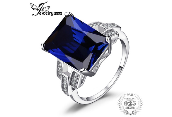 Jewelrypalace Luxury Emerald Cut 9.6ct Created Blue Sapphire Cocktail Ring Genuine 925 Sterling Silver