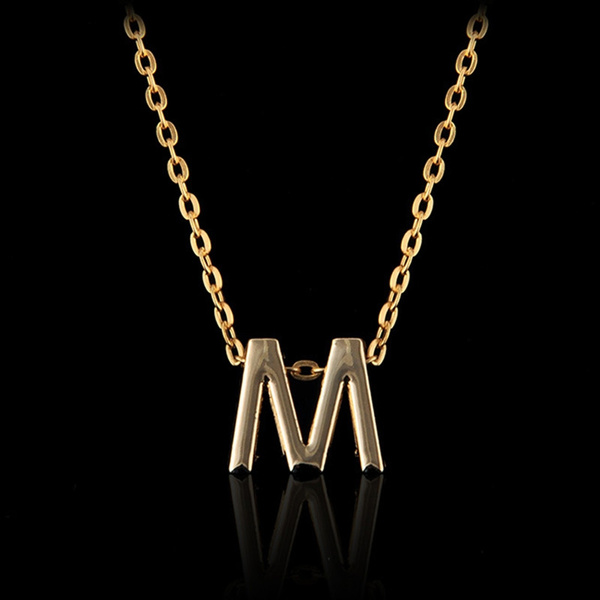 Stylish Simple Gold Plated Charm Letter M Pendant Initial Chain Necklace  Lady Gift