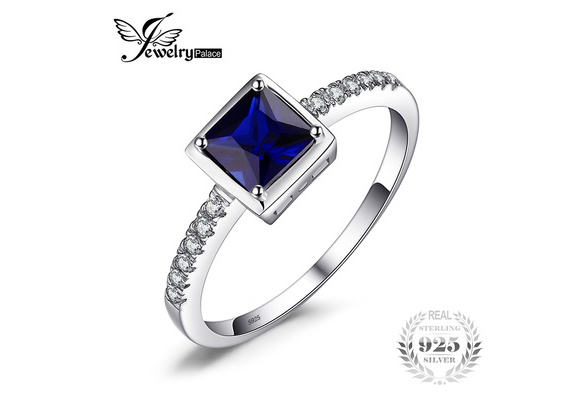JewelryPalace Square 0.9ct Created Blue Sapphire Solitaire Ring 925 Sterling Silver