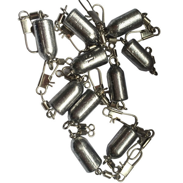 10Pcs Weight 15g Bullet Sinkers With Double Swivel Fishing Lead Weights