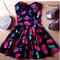 Fashion Red Flower Print off Shoulder Dress