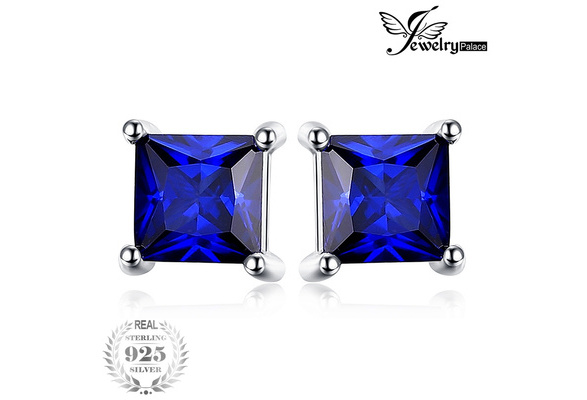 Jewelrypalace Square 0.8ct Created Blue Sapphire 925 Sterling Silver Stud Earrings