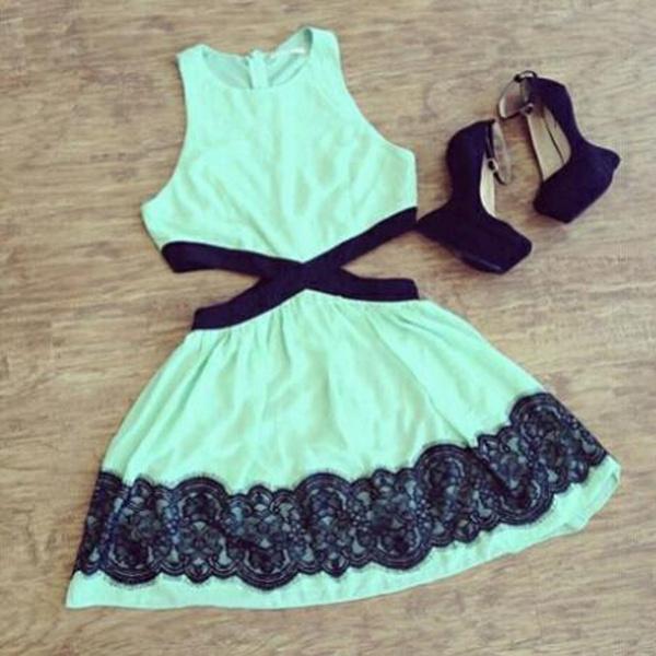 Wish | Women Clothing Black Mint Green mini Contrast Lace ...