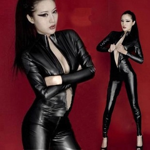 6a9eeeabe85b7 Women Sexy Lingerie Clubwear Black Punk PU Faux Leather Catsuit Women Long  Sleeve Zipperfront Cosplay Costume Jumpsuit