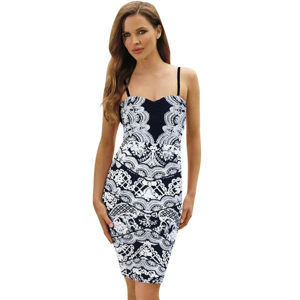 Midi Vestido Azul Marino Encaje Para Mujer