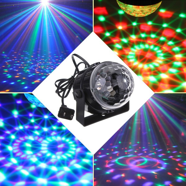 Picture of Mini Rgb Led Wedding Party Disco Club Dj Light Crystal Magic Ball Effect Stage Lighting For Christmas Xmas 110-240v Us Plugeu/uk/au Plug Adapter Size Us Plug Color Black