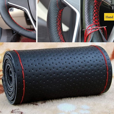 Car Truck Leather Steering Wheel Cover With Needles and Thread Black