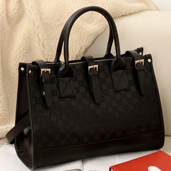 Picture of Women Grid Pattern Faux Black Leather Handbag Tote Pu Bags Color Black