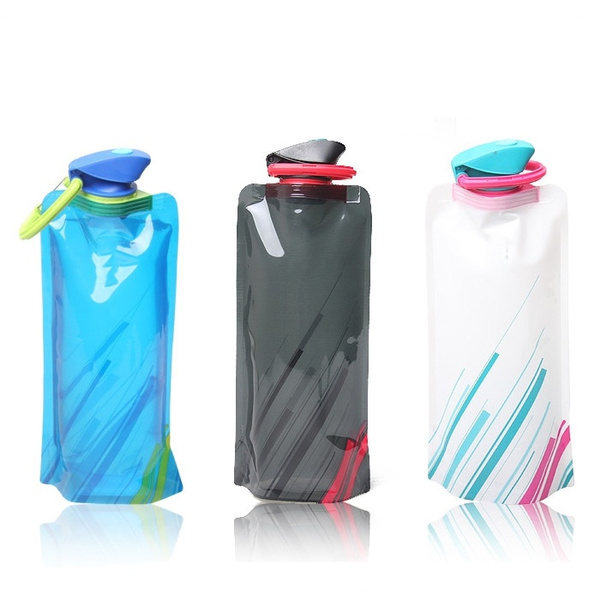 700mL Foldable Reusable Sport Water Bottle Bag BPA-Free Bicycle Camping Outdoor