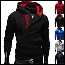 menshoodedsweatercoat, black hoodie, Fleece Hoodie, slim