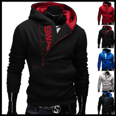 menshoodedsweatercoat, black hoodie, Fleece Hoodie, slim