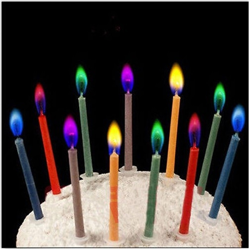 Picture of 6pcs Colored Candles Safe Flames Party Birthday Cake Decorations New