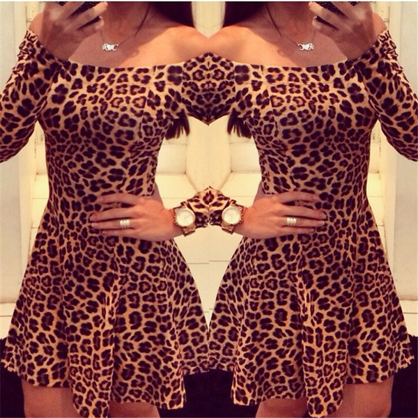 Picture of Women Sexy Leopard Dresses Long Sleeves Femininos Slim Mini Dress