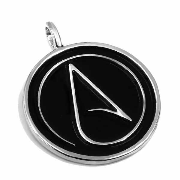Geek Mens Boys Atheist Atheism Symbol Silver Pewter Pendant With