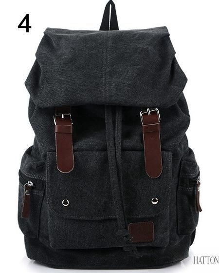 Picture of Canvas Casual Backpack Hiking Climbing Traveling School Computer Bucket Bag