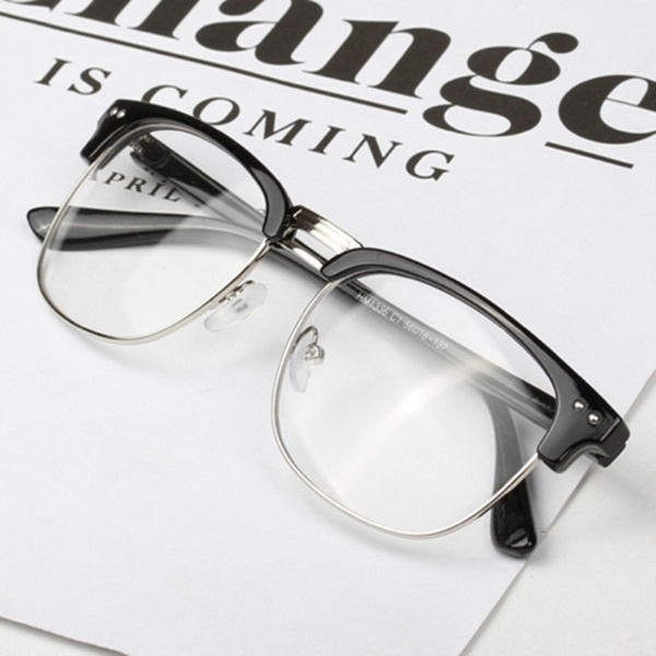 Picture of Unisex Hipster Vintage Retro Classic Half Frame Glasses Clear Lens Nerd Eyewear
