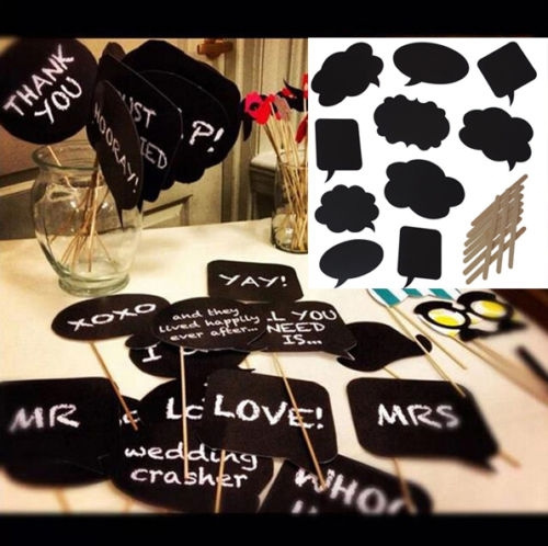 Picture of 10pcs Diy Write Chalkboard Sign Speech Bubbles Photo Booth Props Wedding Parties
