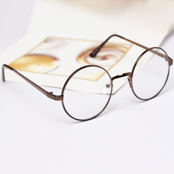Picture of Womens Mens Retro Round Metal Frame Clear Lens Glasses Nerd Spectacles Eyeglass
