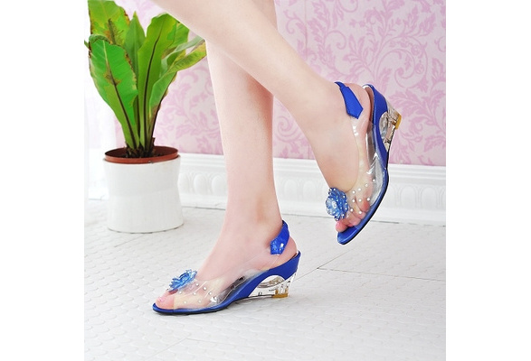 Big Size 34-43 Factory Price Rome Stylish High Quality Wedge Heel Sandals Transparent Dress Casual Shoes Female sandals 2018