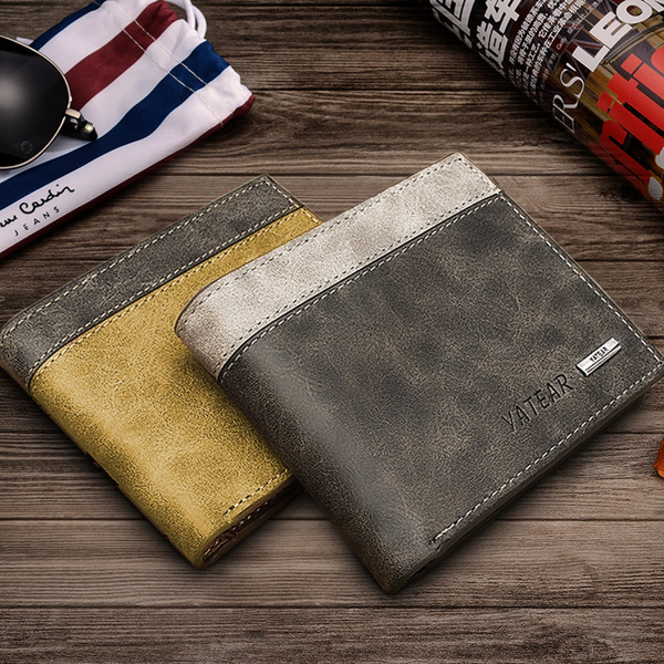Picture of Mother's Day Gifts Korea Fashion Slim Unisex Men's Women's Fashion Pu Wallet Id Credit Card Holder Purse Clutch Pockets 12x10x1.4cm/lwhcolor Grey Brown