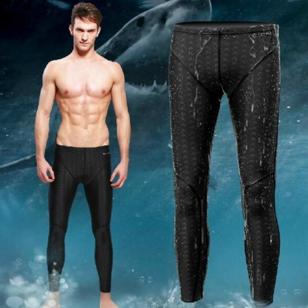 0e3524fec2 Men Swimming Trunks Swim Long Pants Racing Jammers Sharkskin Shark Skin  Swimwear   Wish