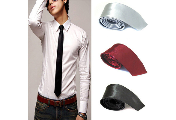 Fashion Casual Slim Plain Mens Solid Skinny Neck Party wedding Tie Silk Necktie