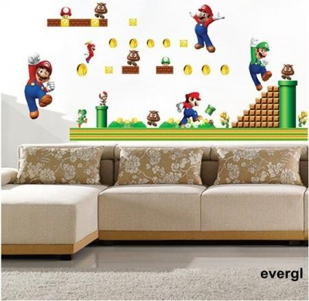 Captivating Wish | Super Mario Bros Mural Removable Wall Sticker DIY Vinyl ...