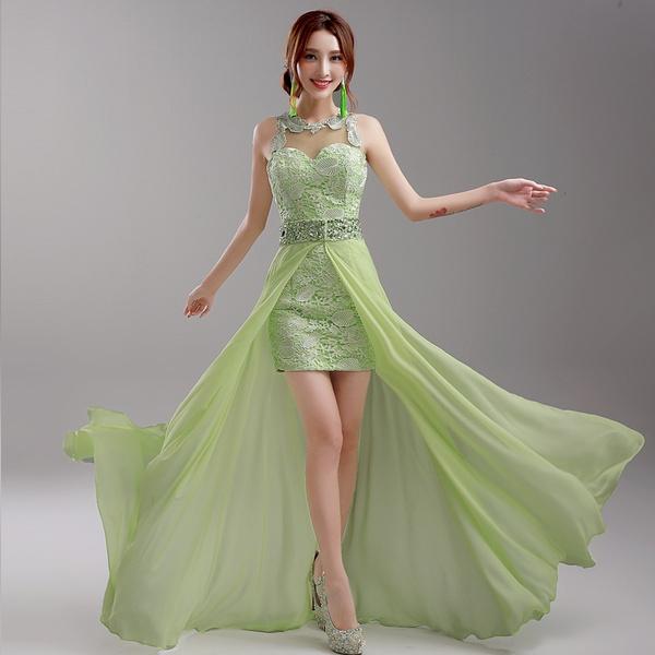 Romantic Green Wedding Dress Backless Lace Wedding Dresses With Detachable Train Bridal Gown Vestido De Noiva Wedding Dress G036