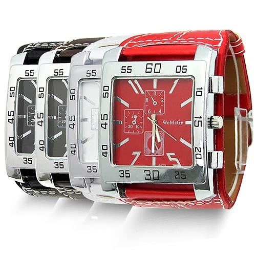 Picture of Fashion Unisex Men Women Leather Band Square Dial Quartz Wrist Watch