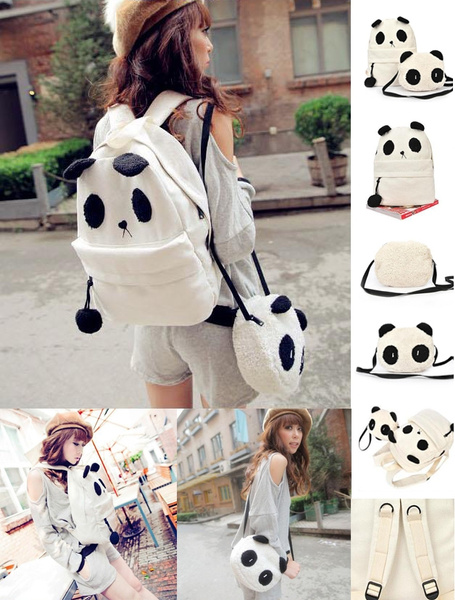 Picture of Panda Backpack Kawaii Cute White Black Bag Purse Animal Fluffy Fuzzy Soft Ears Pom Poms Furry Zippers Canvas Color White