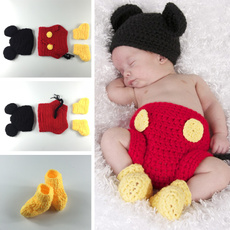 Newborn Unisex Baby Infant Handmade Cotton Knitted Crochet Cute Mouse Photography Props Fashion Children 3 Pieces Set Beanies Hats and Shoes