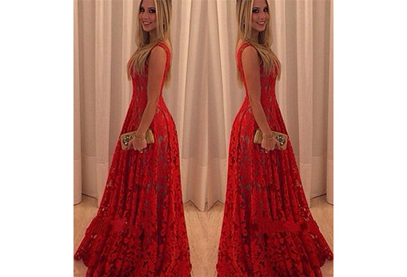 Women Red Dress Wedding Formal Ball Gown Party Prom Lace Skirt Long Sleeveless S-XL 658781