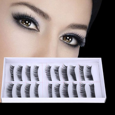 10 Pairs Long Cross False Eyelashes Makeup Natural Fake Thick Black Eye Lashes