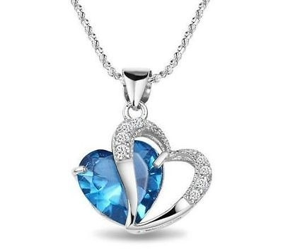 M-TARA 1PC 925 Sterling Silver  Plated Blue Crystal Gemstone Amethyst Heart Pendant Necklace Gift