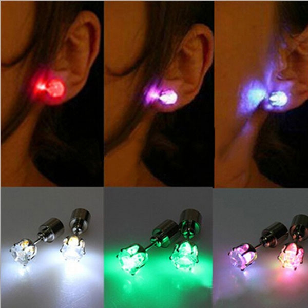 Picture of One Pair Light Up Led Stainless Steel Earrings Studs Dance Party Accessories