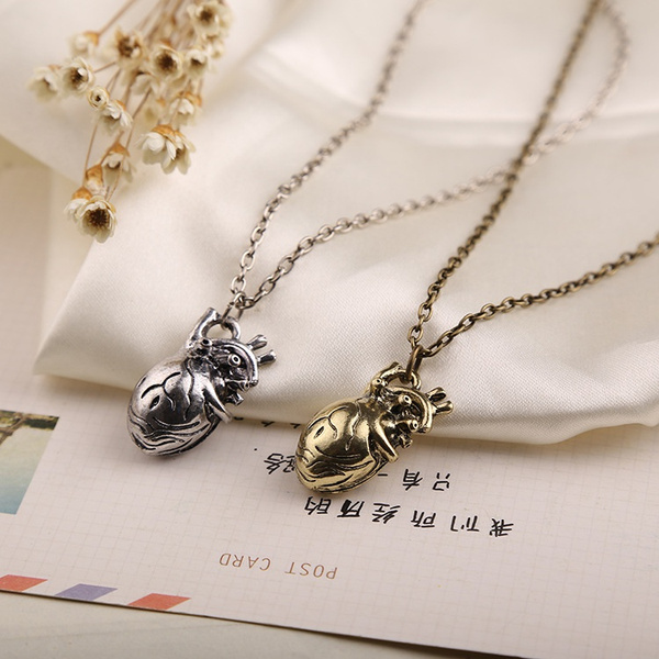 Picture of Retro 3d Anatomical Human Hollow Heart Pendant Necklace Sweater Chain